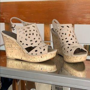Taupe Suede Wedge Cork Heels
